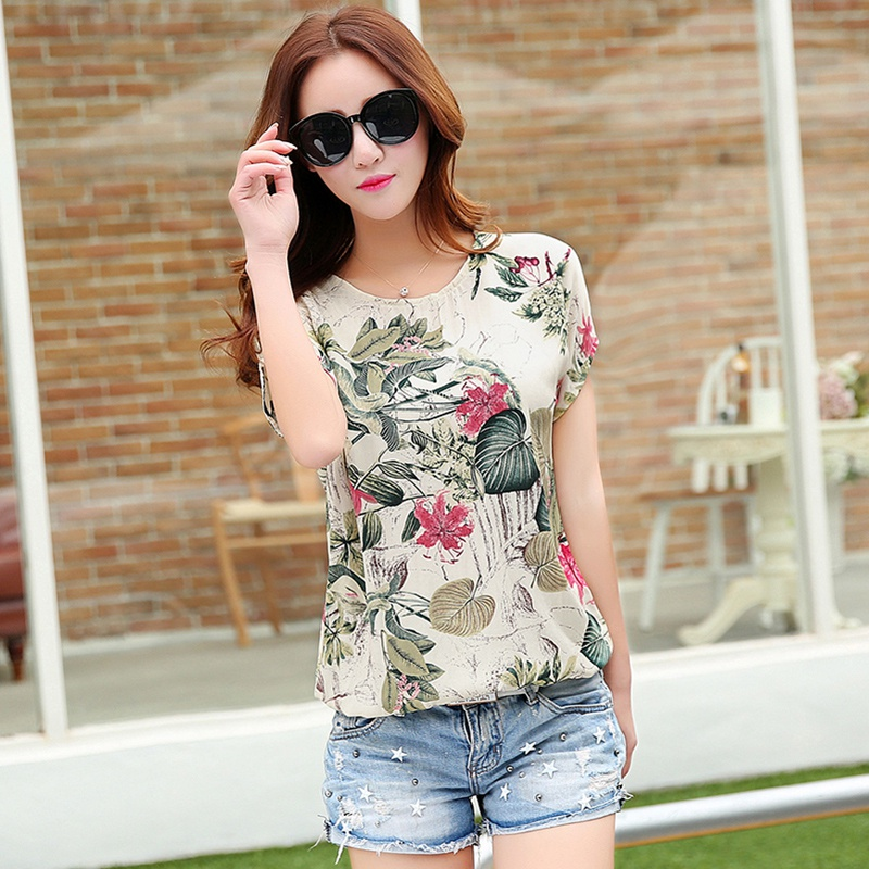 Women Fashion Casual Floral O Neck Short Sleeve Tops Loose Ladies T-Shirt S-XXL