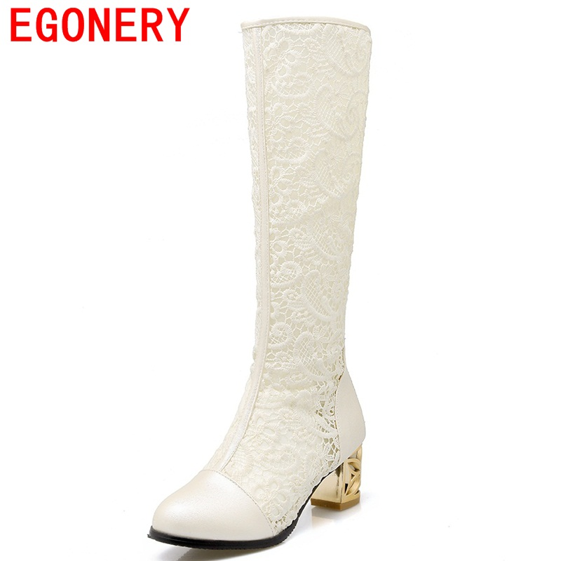 EGONERY hollow out knee-high sexy women boots PU sexy lace after the zipper high heels big size round toe women spring boots pair of stylish hollow out lace splicing pu leg warmers for women