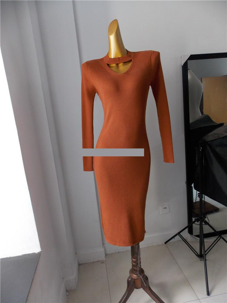 Haute Red Longue Creux Femmes À rust Tricoté Apricot Getsring Taille De caramel Manches Longues Split black Robe Robes Mince Sexy Évider nwR4qFWgZF