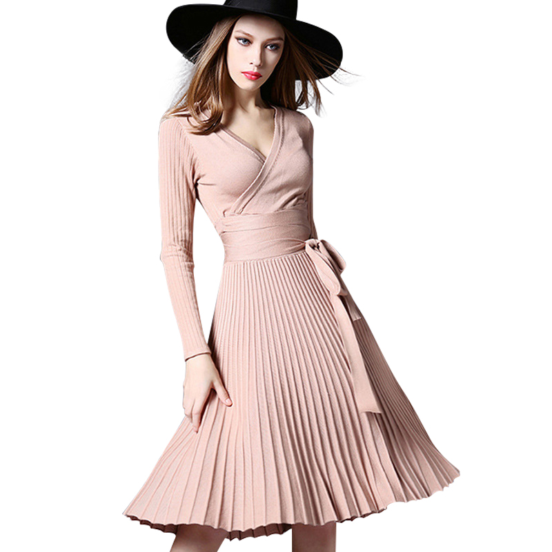 2016 Women S Autumn Dress Red Midi Bodycon Dress Deep V Neck Belted Pleated Vintage Dress