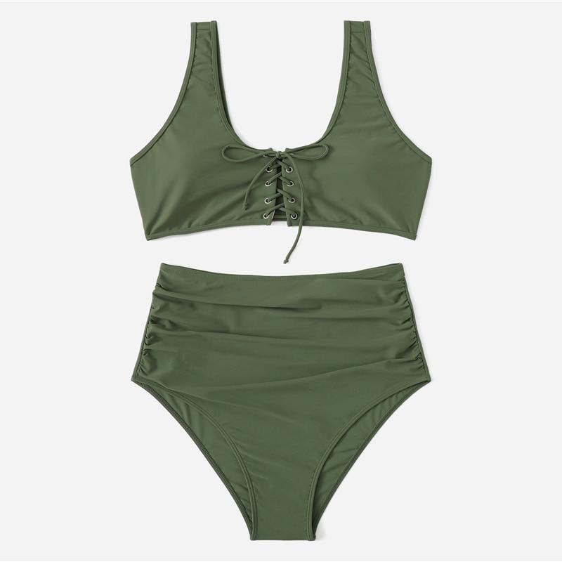 Army Green Plus Size Bikini With Chest Pad 5