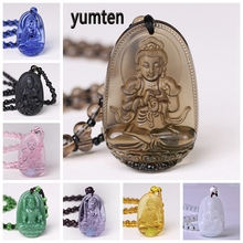 Yumten Buddha Necklace Natural Crystal Pendant Stone Carved   Lucky Accessories Sweater Chain Blessing Reiki Gem Guardian Gifts недорого