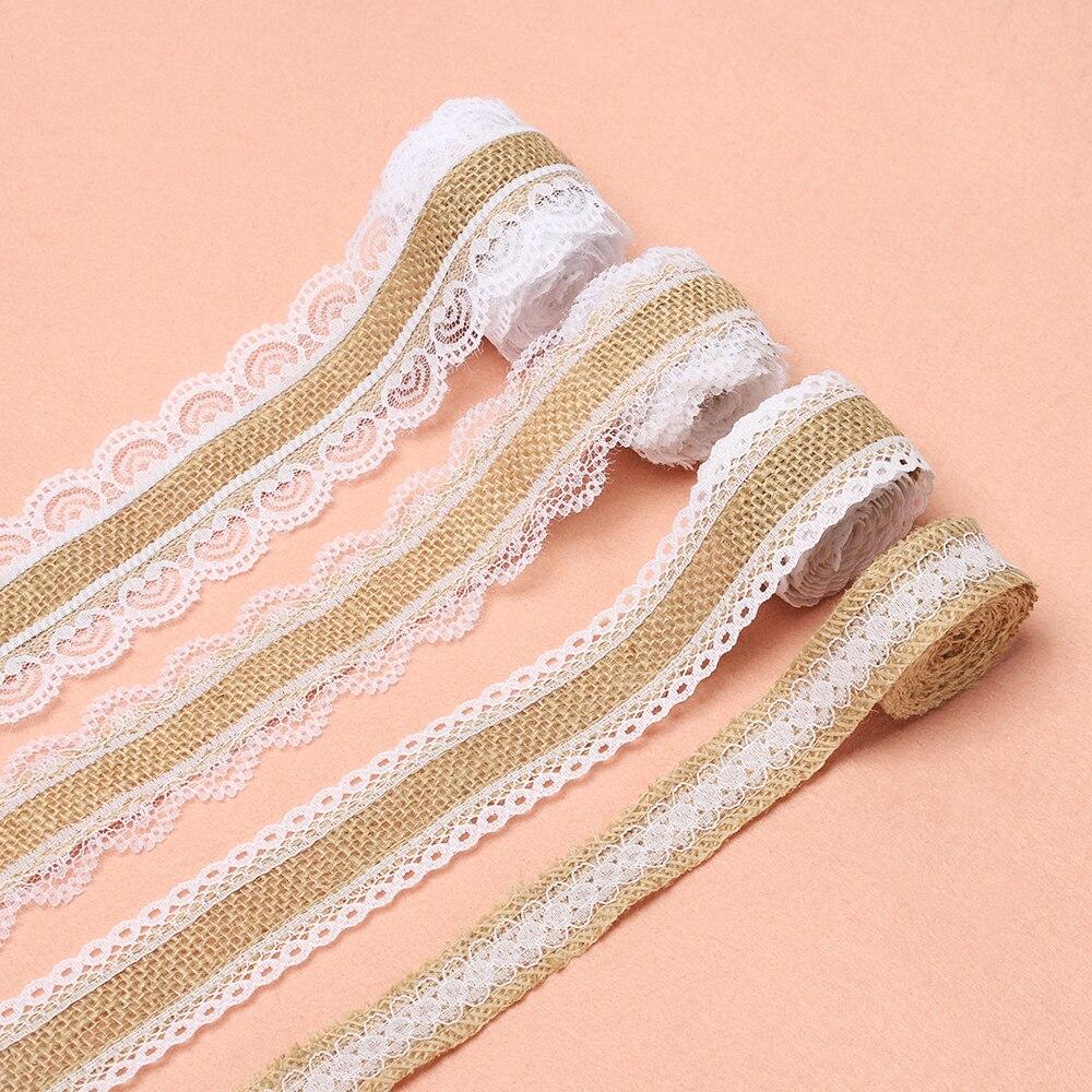 Party DIY Rustic Vintage Jute Burlap Lace Edge Hessian Ribbon Sisal Trim