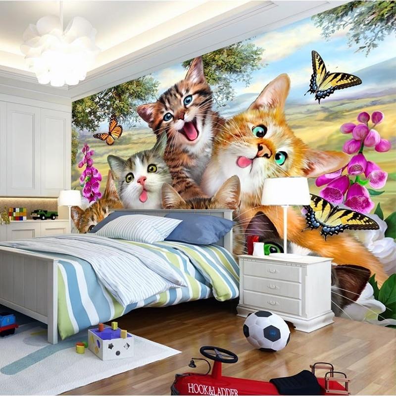 Foto Tapete 3D Cartoon Nette Katze Tier Tapete Wandmalereien Kinder ...
