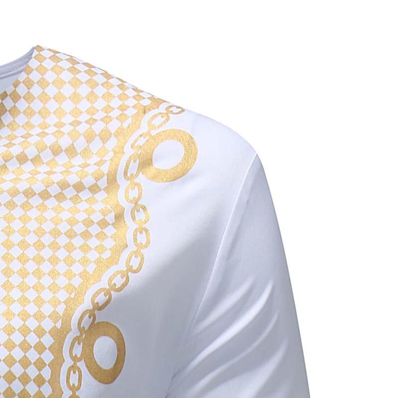 a176ccf0e Africa Clothing Men Dashiki Dress Long Sleeve Gold Printed V-Neck T-Shirt  Tribal Ethnic Traditional African Fashion Hip Hop Tee