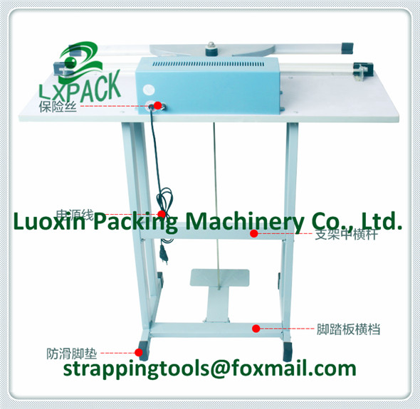 LX-PACK Foot Operated Impulse Poly Sealers Foot Double Impulse Vertical Sealer Twin Element Foot Impulse Sealer