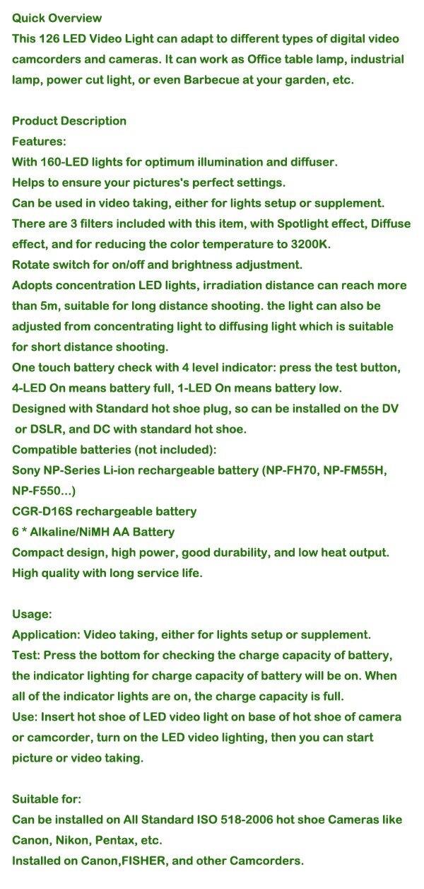 סטודיו צילום אביזרים CN-126 LED מצלמת וידאו אור מצלמת וידאו DV צילום תאורה 5400K עבור Canon Nikon Sony