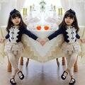 Lovely Baby Crianças Meninas Roupas Tops Bow Tie Floral de Algodão Tops de Renda blusa de Manga Comprida Branca Tamanho 3 4 5 6 7 8 Anos