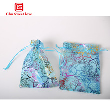 9x12cm lake blue gilded coral color yarn bouquet pocket organza gift bag lipstick jewelry beam bag 100pcs