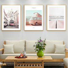 Nordic Poster Landscape Painting Pink Vintage And Prints Bus Wall Art Living Room Decoration Canvas Unframed