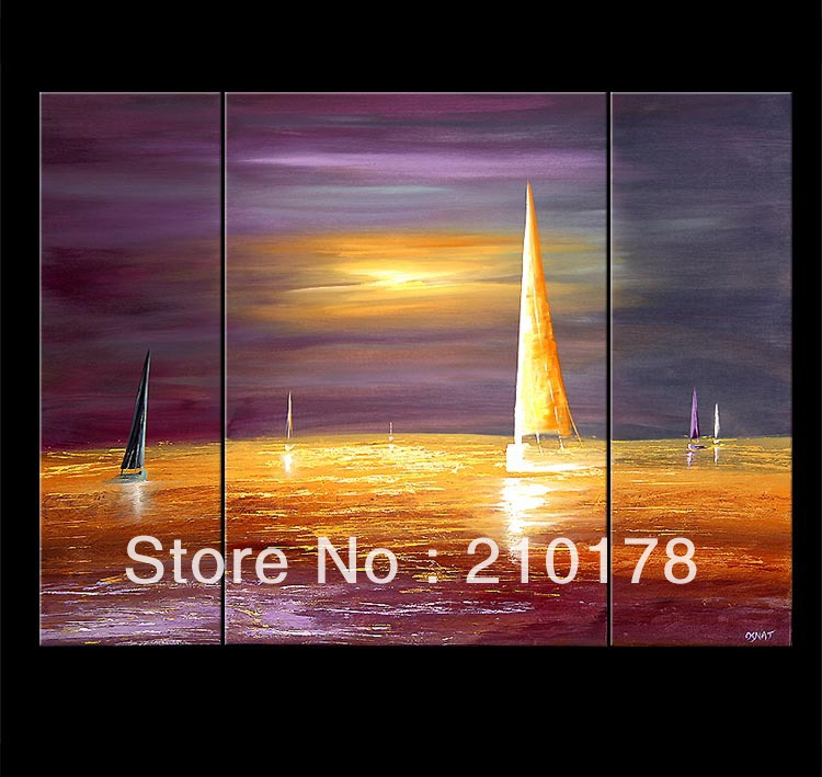 handmade oil painting on canvas modern 100%  Best Art sailing oil painting original  directly from artis LA3-180