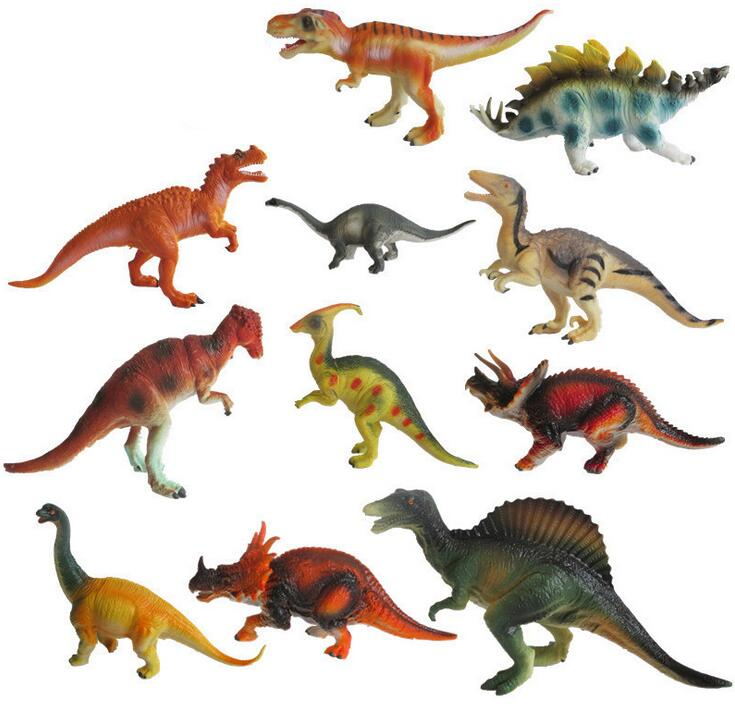 12Pcs/Set A large dinosaur toys Model animal 15-18cm Children's gift PVC material simulation model dinosaur plastic dinosaur tyrannosaurus rex triceratops suit simulation static animal model dinosaur toys