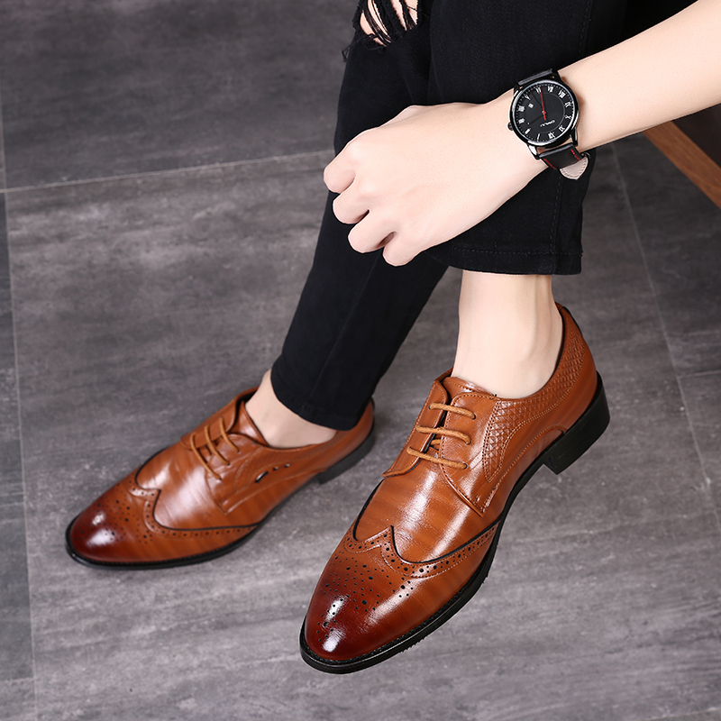 Yellow Brown Blue Men Leather Dress Shoes Business Formal Men Office Lace-up Oxford Shoes Form Men Plus Size 38-48 Jade White Formal Shoes