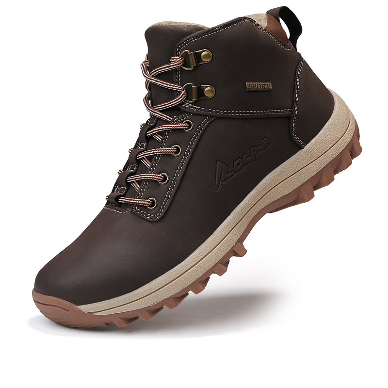 Homass Hiking Shoes Men Winter Boots Short Plush Outdoor Casual Shoes Big Size 39-47 Tactical Militay Boots Winter Sneakers Men