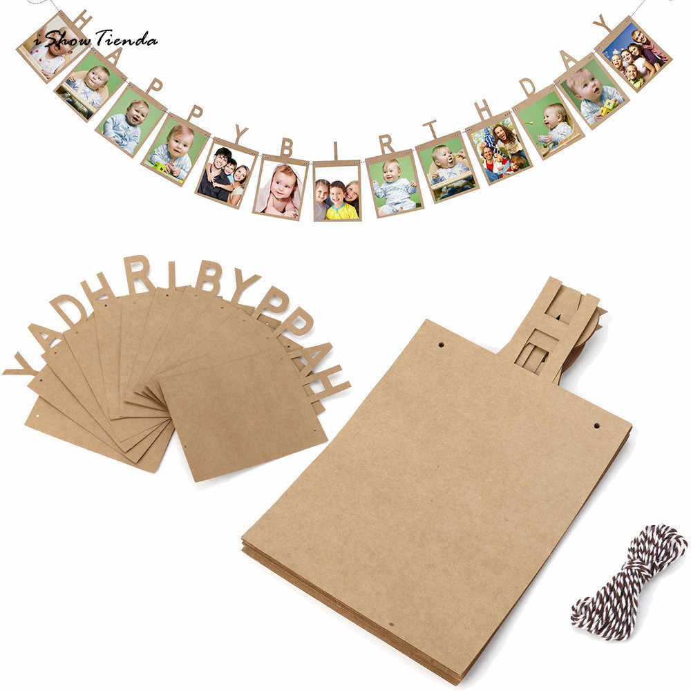 New Hot 13Pcs 14*23cm Creative Happy Birthday Paper Photo Frame Wall Hanging Picture Album Paper Album  Frame