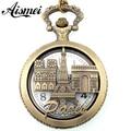 """25pcs/lot New arrive Bronze Tone Necklace Chain """"PARIS"""" Eiffel Tower hollow Quartz Pocket Watch wholesale send by EMS or DHL"""