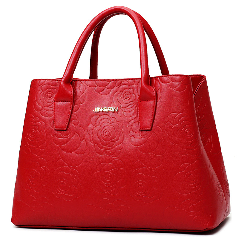 ФОТО 2017 NEW Messenger Bag Designer Handbags Crossbody Bag Embossed Floral Fashion Women Bag High Quality Famous Tote Red K9015