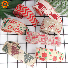 2M/Lot DIY Christmas Burlap Jute Rolls Hessian Ribbon With Cartoon Printing Rustic Vintage For Party Decoration