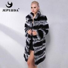 JEPLUDA marca de moda de Abrigo de Piel de Conejo Rex Natural de invierno traje de cuello grueso abrigo de piel Real de las mujeres chaqueta de piel Real chaqueta de cuero