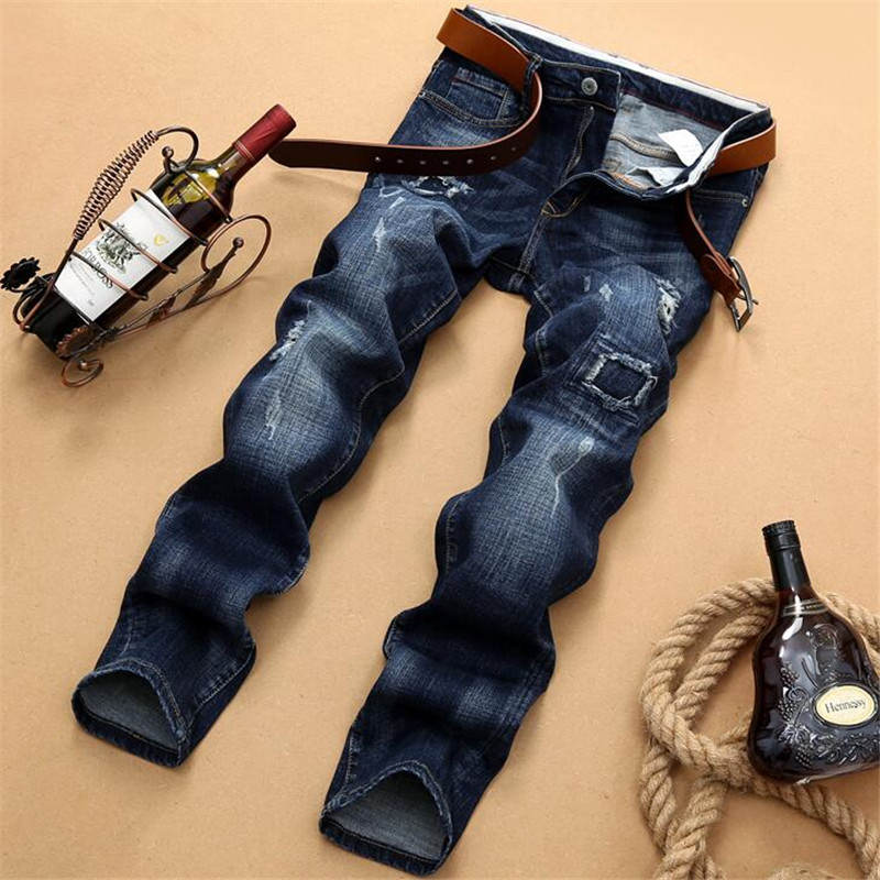 Men s new Biker Oil Printed Jeans blue Classic Mens Fashion Brand High Quality Skinny Patchwork