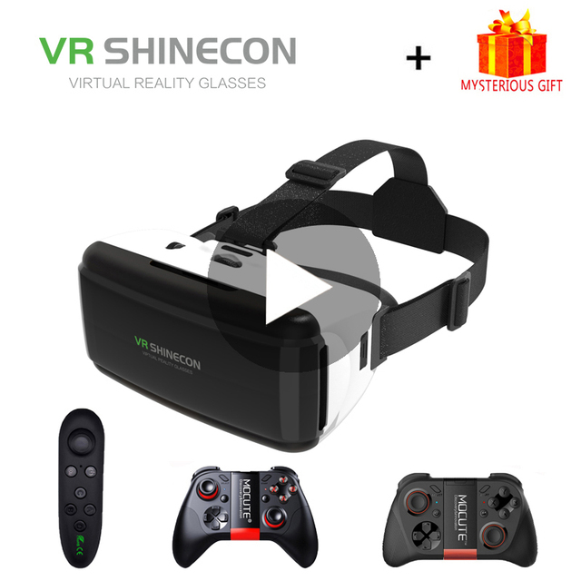 VR Shinecon G06 Óculos de Realidade Virtual 3D Para iPhone Android Telefone Inteligente Ios Smartphones Fone De Ouvido Óculos de proteção do Capacete Casque Gerceklik