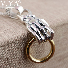 1b30e3074df1 V YA 925 colgantes de plata esterlina hipérbole mano de esqueleto masculino  de los hombres colgante de plata tailandesa collar d.