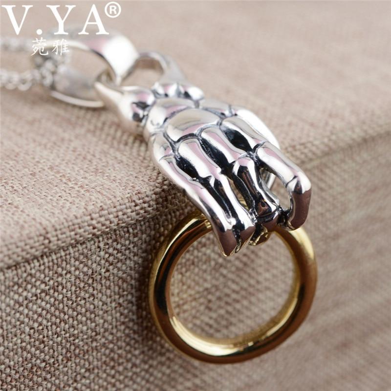 V.YA 925 Sterling Silver Pendants Hyperbole Skeleton Hand Male Men's Pendant Thai Silver Necklace Jewelry