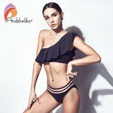 Bikini Women 2018 New One Shoulder Sexy Brazilian Lotus Leaf Swimsuit Beach Swimwear Mesh Waist bikini Sets Swim Suit
