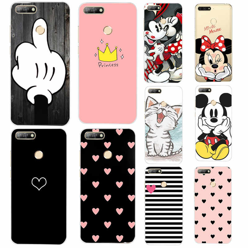 "5.7"" Huawei Y6 2018 Case Silicone Huawei Y6 PRIME 2018 Cute Fundas TPU Protective Cover For Huawei P20 P30 Pro P 30 Lite Coque"