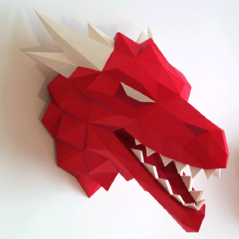 DIY Home Decoration Dragon Head Paper Model Puzzles Toy Game Of Thrones Animal For Restaurant Bar Waterproof Educational Model