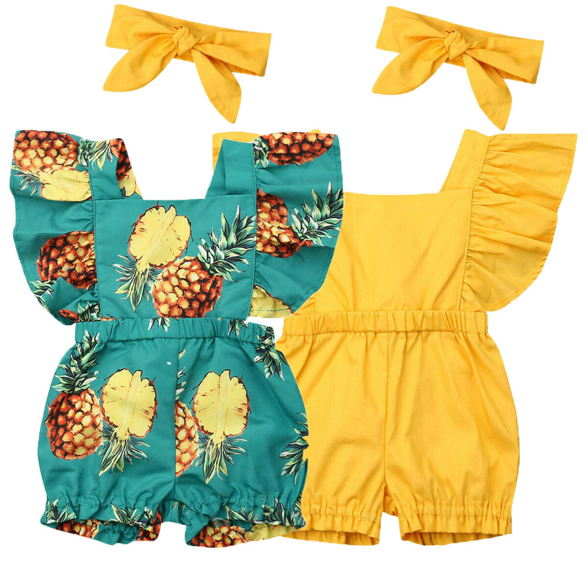 09447855a413e Newborn Baby Girl Clothes Fly Sleeve Ruffle Romper Jumpsuit Headband 2PCS  Outfits Set ~ Hot Sale June 2019