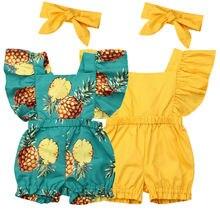 Одежда для новорожденных девочек с рукавами-крылышками, с оборками, Детский комбинезон с повязкой-бантом комплект одежды из 2 предметов