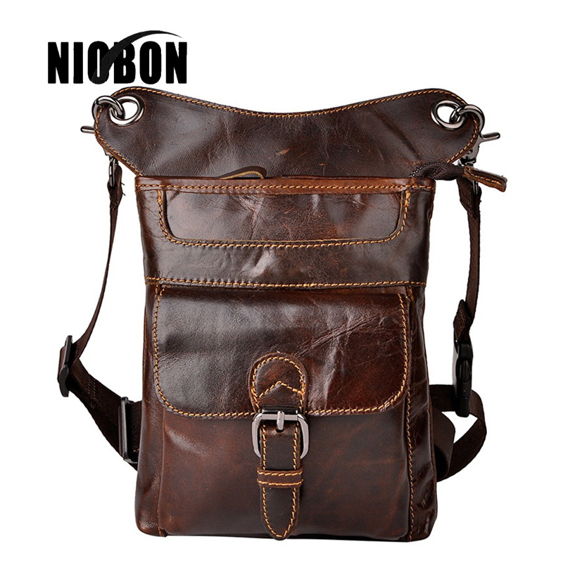 Niobon 2017 Genuine Leather Vintage Waist Packs Fashion Man Travel Belt Bag Phone Pouch Bags Crossbody Messenger Bag hot sale men canvas waist packs army green solid phone bag hip belt portable man wallet purse case pouch waist bags 2017