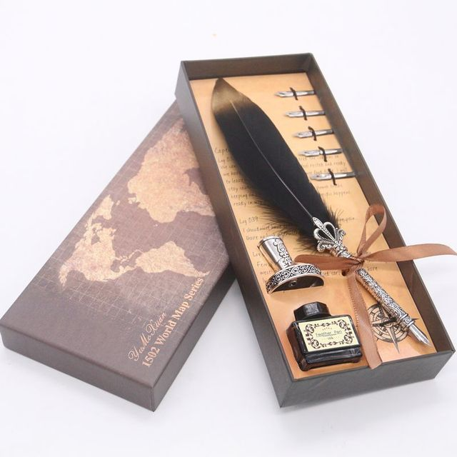 Luxury Calligraphy Feather Dip Pen Writing Ink Set Stationery Gift Box with 5 Nib Wedding Quill Pen Metal Fountain Pen Set