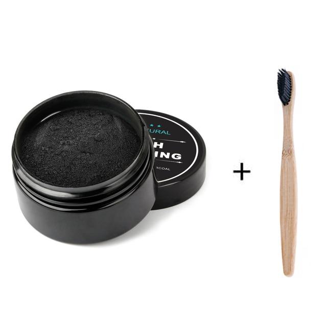 Kit de blanqueamiento de dientes en polvo de carbón de coco activado Kit de blanqueamiento de dientes de bambú con cepillo de dientes para higiene bucal 30g