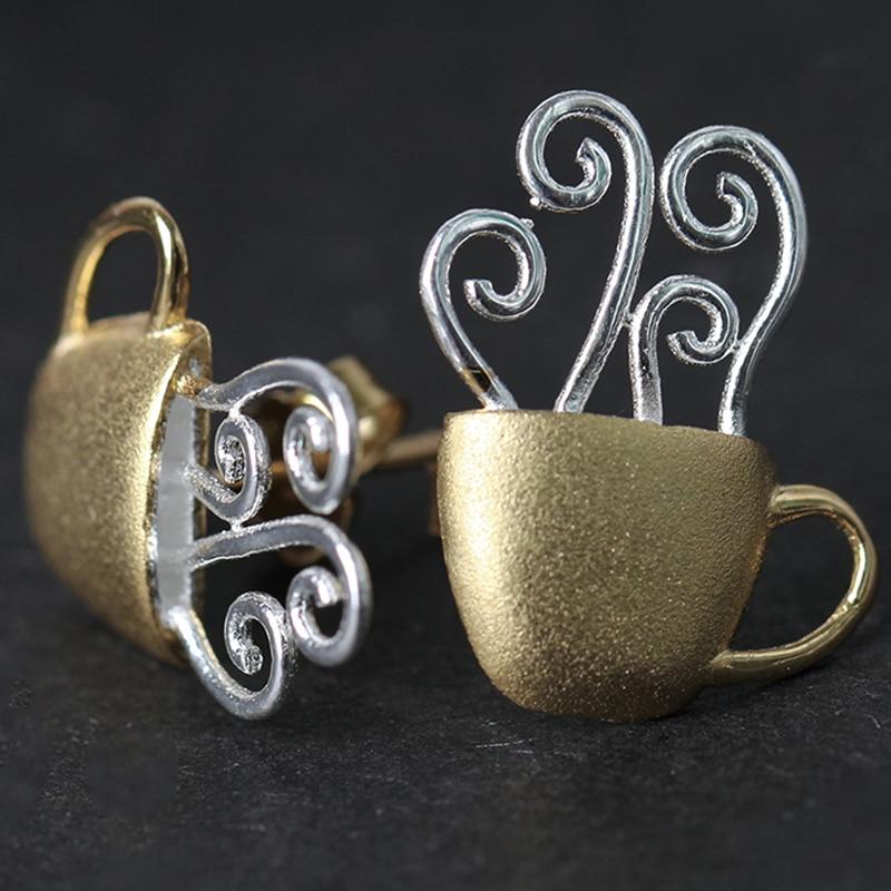Lotus Fun réel 925 en argent Sterling goujons créatif à la main bijoux fins tasse à café chaud mode boucles d'oreilles pour les femmes Brinco - 5