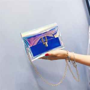 أكياس Crossbody للنساء 2019 الليزر شفافة أكياس أزياء المرأة الكورية نمط حقيبة كتف رسول PVC حقيبة شاطئ مضادة للماء