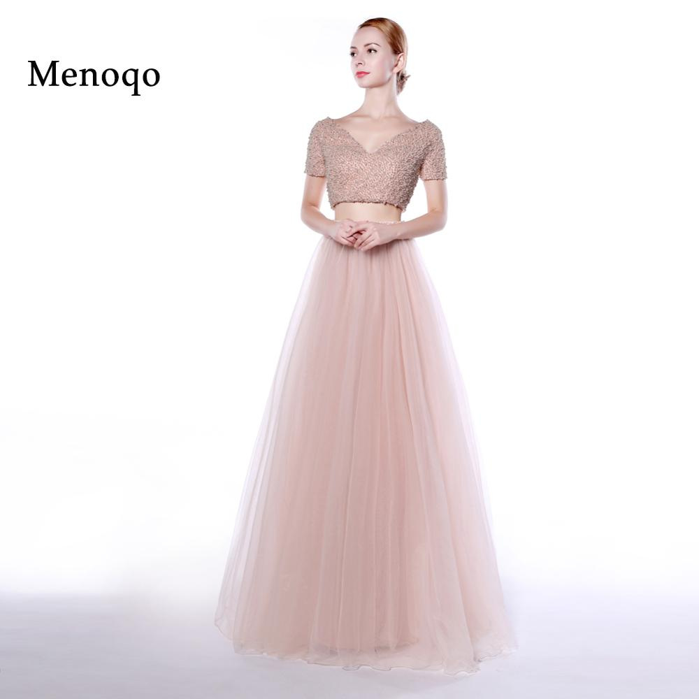 Menoqo two piece   prom     dresses   2019 Short Sleeve Pearls V neck A Line Long Party   Dresses   Formal Evening Gowns Real Photos