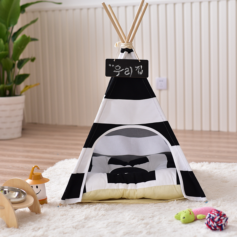 Black Striped Cotton Canvas Dog Teepee House Tent Pet Teepee Bed Without Cushion replacement for vital signs monitor medical twslb 008 hylb 1049 m3 ecg machines battery
