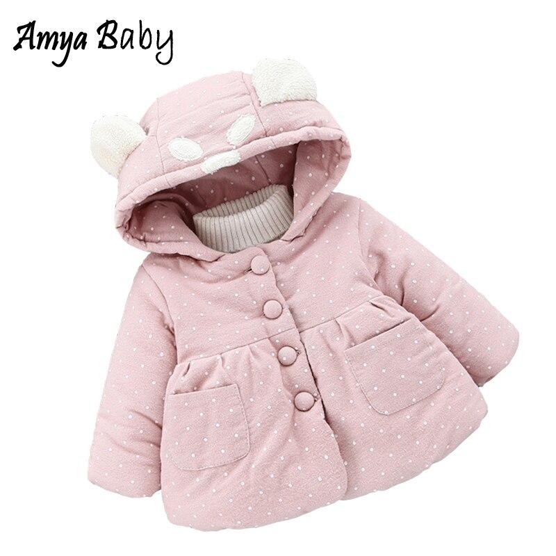 купить AmyaBaby Baby Girls Jacket 2017 Winter Outerwear For Newborns Thick Warm Girls Winter Coats Long Sleeve Hooded Dot Baby Clothing по цене 1259.99 рублей