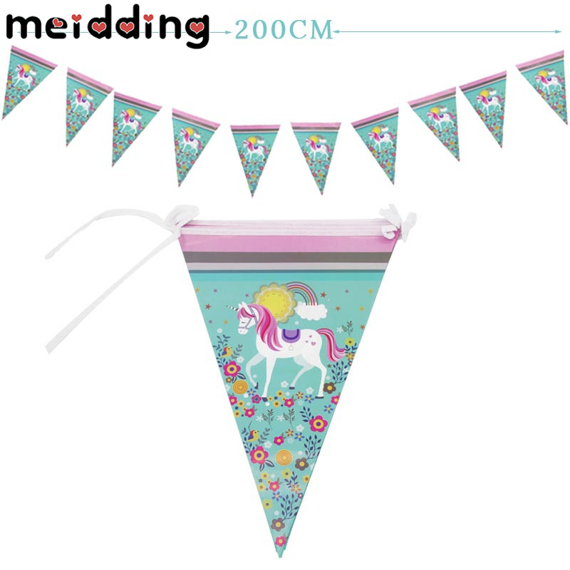 MEIDDING Unicorn Party Banners Kids Happy Birthday Backdrop Garlands Baby Shower 1st Birthday Paper Bunting Flag Decor Supplies