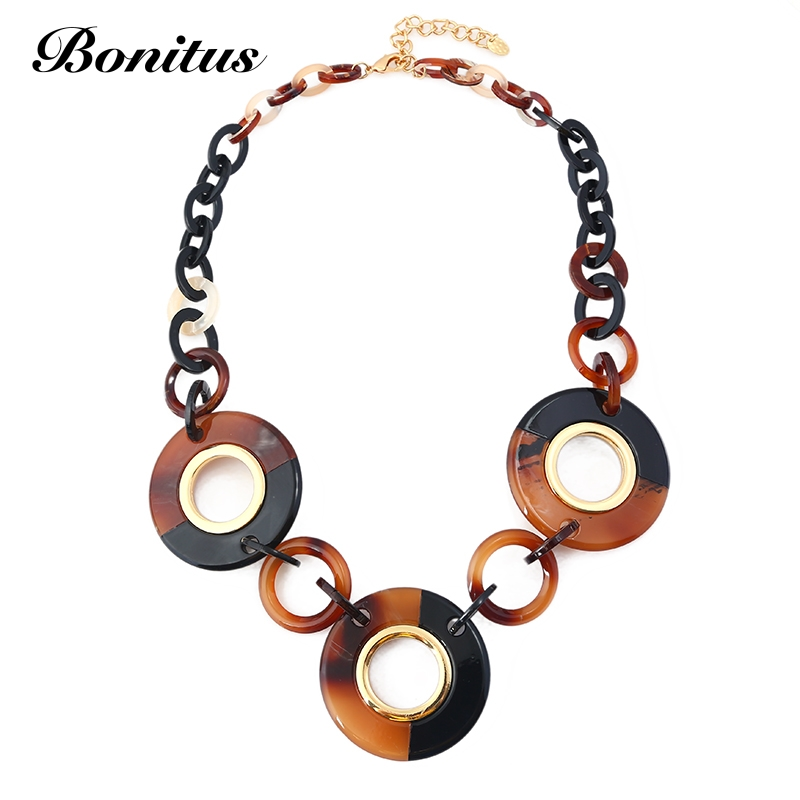 [Bonitus Jewelry Store]NewArrival Fashion Statement Vintage Necklaces High-Polished Lucite Plastic For Women Neck HOT06N3083 цена