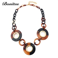 [Bonitus Jewelry Store]2017NewArrival Fashion Statement Vintage Necklaces High Polished Lucite Plastic For Women Neck HOT06N3083