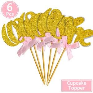Image 3 - 1st ハッピーバースデー紙ケーキカップケーキトッパー私の最初のパーティー装飾キッズベビー少年少女私は 1 1 年用品ピンクブルー