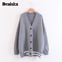 DENISKA Casual Women Long Paragraph Solid Color Sweater Cardigan Kimono V Neck Long Sleeve Was Thin