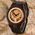 Casual Moose Handmade Sandalwood Nature Wood Bamboo Hollow Deer Head Elk Wrist Watch Men Women Genuine Leather Band Strap Gift
