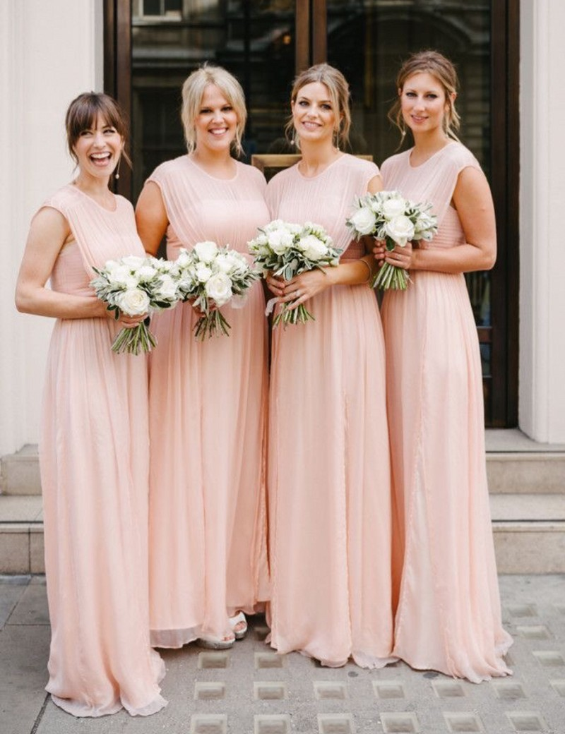 Aliexpress.com : Buy Lovely Cute Baby Pink Long Bridesmaid Gowns ...
