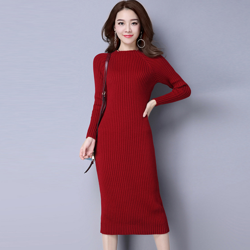 Knitting Sweaters Dress For Women 2018 Autumn and winter Slim Dresses Casual Elastic Turtleneck Knitwear Female Pullovers dress