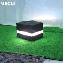 Vecli Lawn Lamps Fiber Glass Creative Black Color Decorative Modern Stone Style Garden Outdoor Landscaped