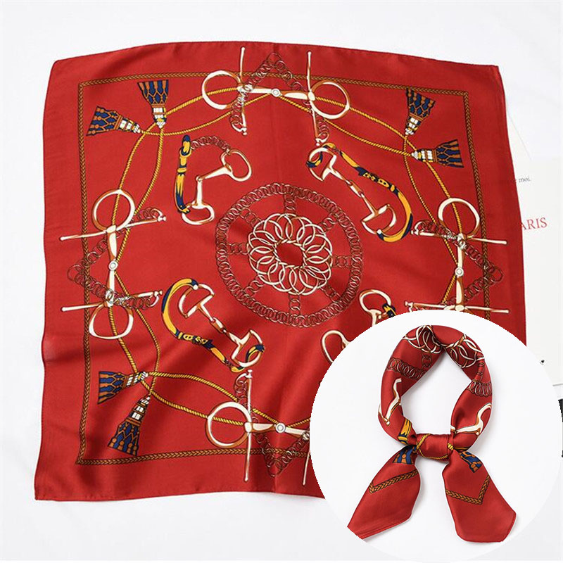 Blue Women   Scarf   Silk   Wrap   Elegant Red Chain Print Solid Headbands Head Neck Tie Band Neckerchief Bag Decorative Square   Scarves